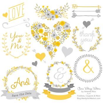 Clara Vintage Floral Wedding Heart Clipart in Sunshine