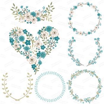 Clara Vintage Floral Wedding Heart Clipart in Vintage Blue
