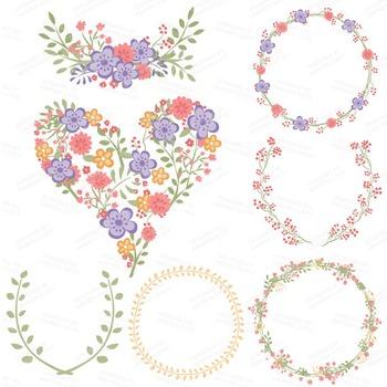 Clara Vintage Floral Wedding Heart Clipart in Wildflowers