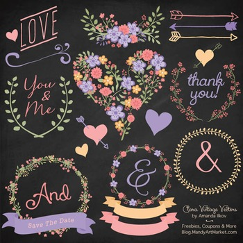 Clara Vintage Floral Wedding Heart Clipart in Wildflowers