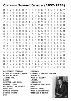 Clarence Darrow Word Search