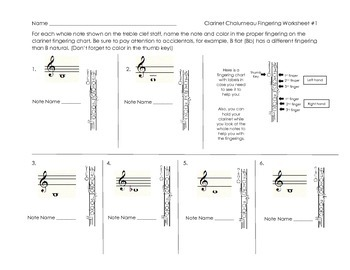 Clarinet Chalumeau Register Fingering Worksheet #1