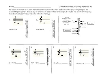 Clarinet Chalumeau Register Fingering Worksheet #2