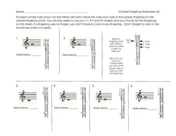 Clarinet Fingering Worksheet 2 for Band Beginners