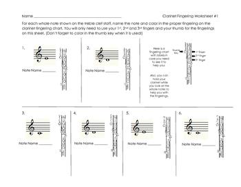 Clarinet Fingering Worksheet for Band Beginners