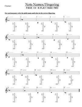Clarinet Fingering Worksheets