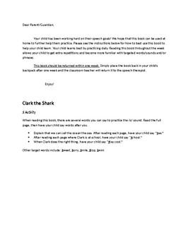 Clark the Shark Spech/Language/Fluency Activities