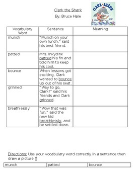 Clark the Shark: Vocabulary Building Activity