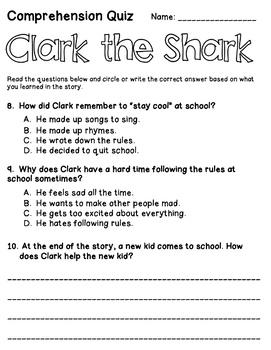 Clark the Shark by Bruce Hale: Literature Study (Common Core & TEKS Aligned)