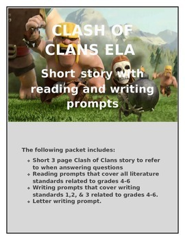 Clash of Clans ELA activities- common core