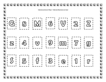 Clasifica letras, números y figuras. / Sort numbers, letters and shapes.