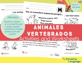 Clasificación de Animales- Vertebrate Animals in Spanish