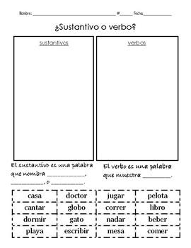 Clasificación de sustantivos y verbos