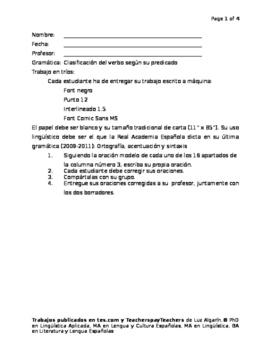 Clasificación del verbo según su predicado e irregularidad