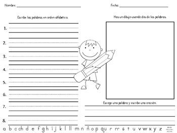 Clasificando, ordenando y escribiendo palabras