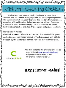 Summer Virtual Tutoring Using Classkick