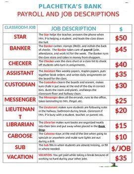Clasroom Economy Job Description