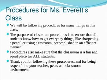 Clasroom Procedures Power Point- Great fro Back-to-School
