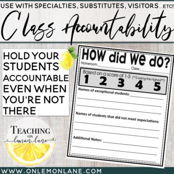 Class Accountability Score Sheet (Use w/Visitors, Specialties , Art, P.E. ...)