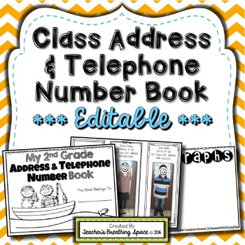 Class Address & Phone Number Book --- End of Year Memory Book