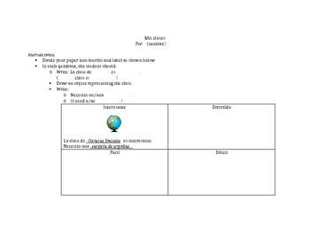 Class Adjectives Quadrant Activity (Así se dice 1 or Realidades 1)