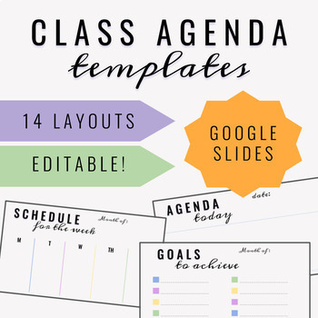 Class Agenda Daily Weekly More Editable Templates Distance Learning