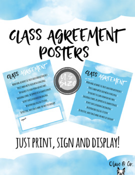 Class Agreement Posters - Cloud Theme