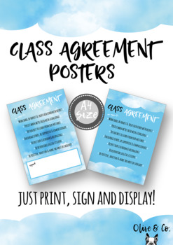 Class Agreement Posters - Cloud Theme A4