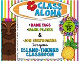 Class Aloha: Island-Themed Name Tags, Name Plates, and Cla