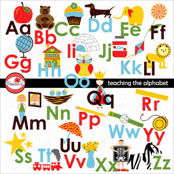 Teaching the Alphabet Digital Clipart and Flashcards by Po