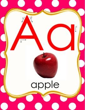 Class Alphabet Pink Polka Dots