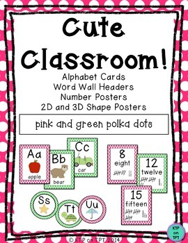 Cute Classroom! (pink and green polka dot alphabet and number decor)