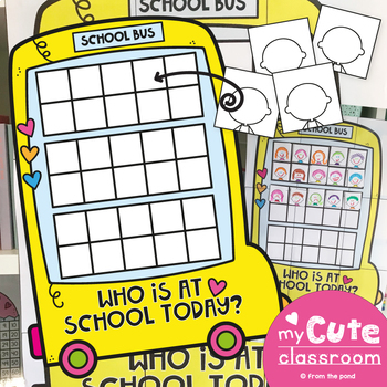 Class Attendance Poster - Who is at school today? Bus