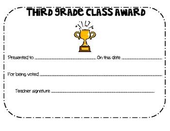 Class Award Certificates