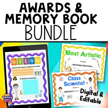 Class Award Certificates & Memory Book 3rd, 4th, 5th, 6th End of the Year BUNDLE