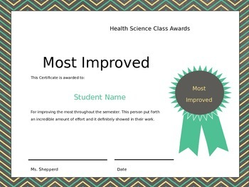 Class Award Certificates for Middle School Health Science