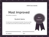 Class Award Certificates for Middle School STEM class Editable