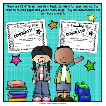 End of the Year Class Awards - Character Traits Awards - Editable