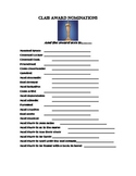 Class Awards Nomination Form (End of year actitivity)