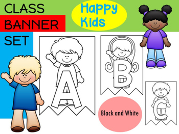 Class Banner : Happy Kids - Black and White