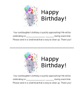 Class Birthday Approaching - Reminder Note for Parents
