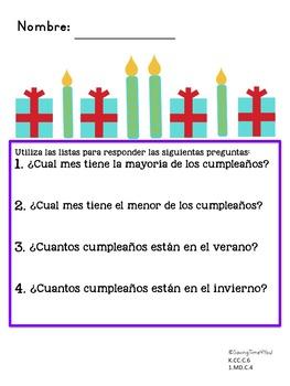 Spanish Birthday Bar Graph and Tally Mark Page