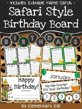 Class Birthday Board - Safari Style Theme {Jungle and Animal Print}