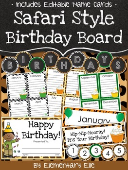 Class Birthday Board - Safari Style Theme {Jungle and Anim