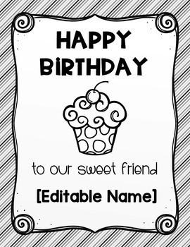 Class Birthday Book - Editable Names