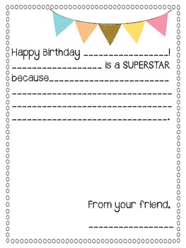 Class Birthday Book Letters
