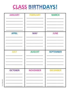 Class Birthday Chart