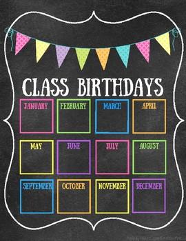 Class Birthday Chart - Chalkboard