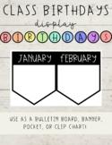 Class Birthday Display- Rainbow Heading, Black and White Banner/Pockets
