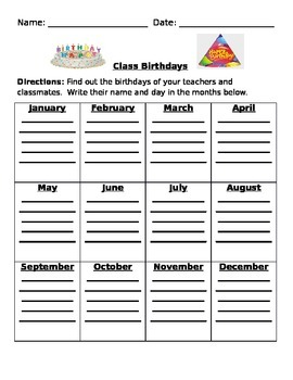 Class Birthday Graph